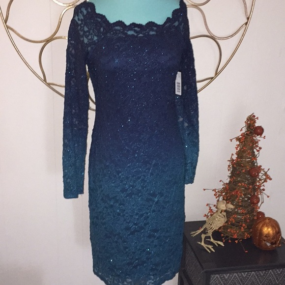 4606fe58ee9 4 ONYX NITE lace ombré glitter party holiday dress